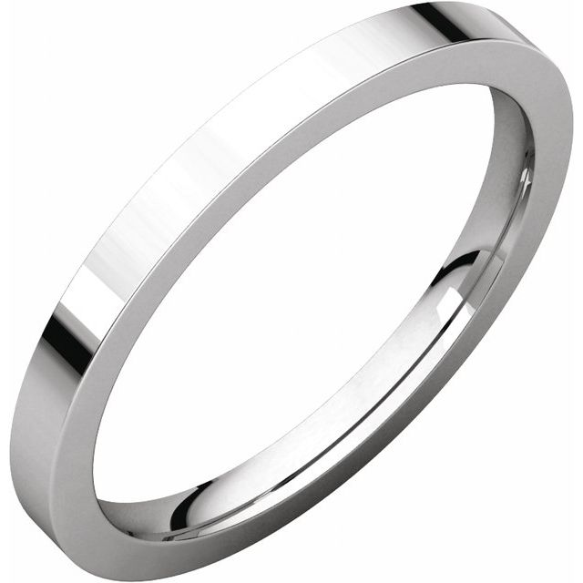 Sterling Silver 2 mm Flat Comfort Fit Band Size 15