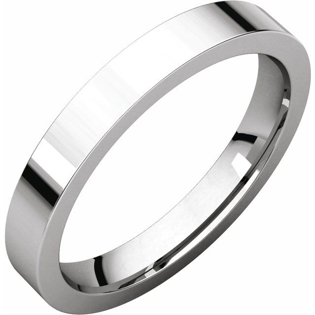 Sterling Silver 3 mm Flat Comfort Fit Band Size 7.5