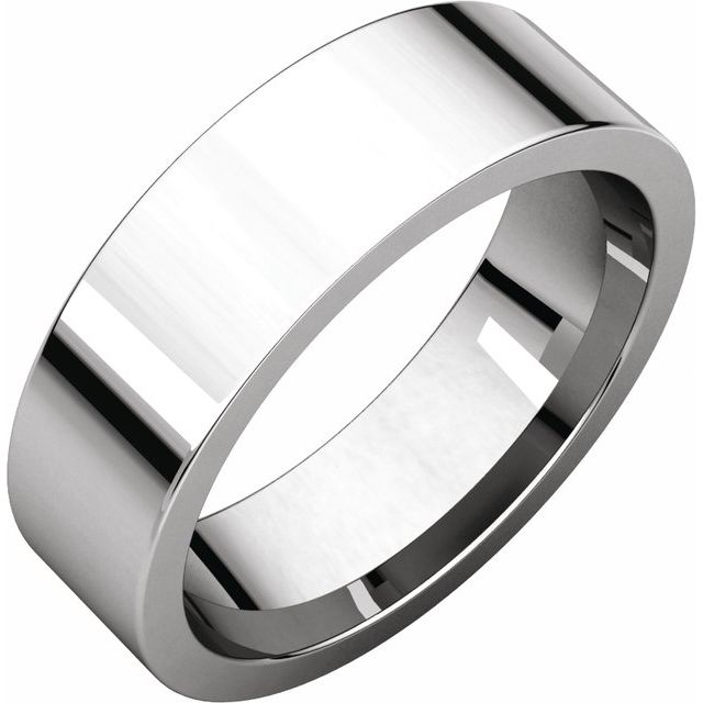Sterling Silver 6 mm Flat Comfort Fit Band Size 10