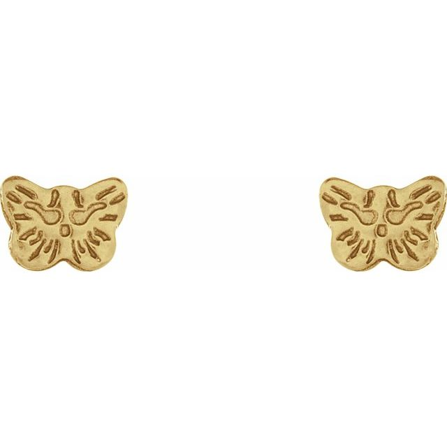 24K Gold-Washed Stainless Steel Butterfly Piercing Earrings