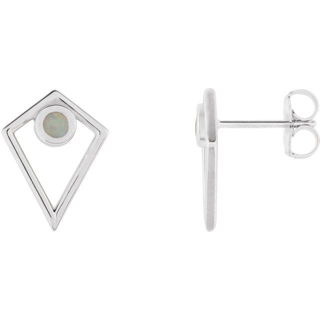 14K White Opal Cabochon Pyramid Earrings