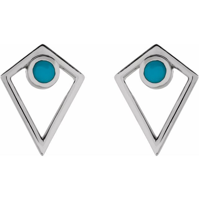 Sterling Silver Turquoise Cabochon Pyramid Earrings