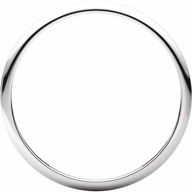 14K White 1 mm Half Round Light Band Size 6