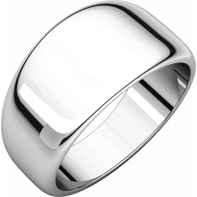 Sterling Silver 10 mm Half Round Tapered Band Size 7