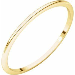 14K Yellow 1 mm Half Round Light Band Size 6