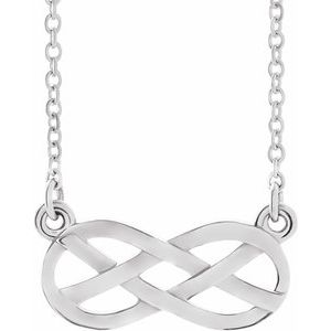 "Sterling Silver Infinity-Inspired Knot Design 18"" Necklace"