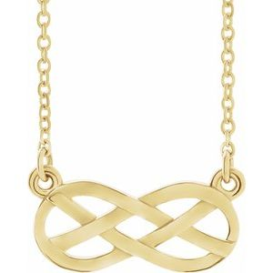 """14K Yellow Infinity-Inspired Knot Design 18"""" Necklace"""