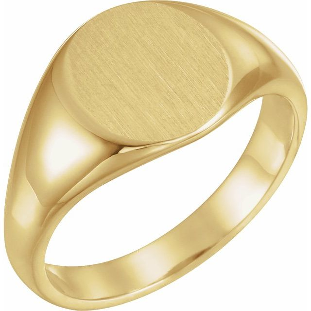 14K Yellow 12.5x10.5 mm Oval Signet Ring
