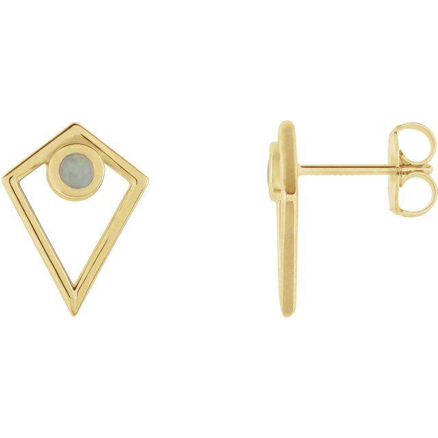 14K Yellow Opal Cabochon Pyramid Earrings