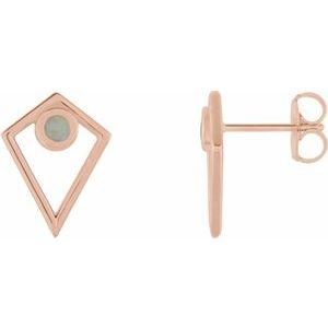 14K Rose Opal Cabochon Pyramid Earrings