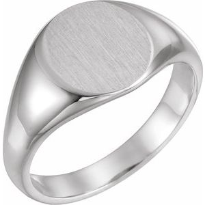 Platinum 12.5x10.5 mm Oval Signet Ring