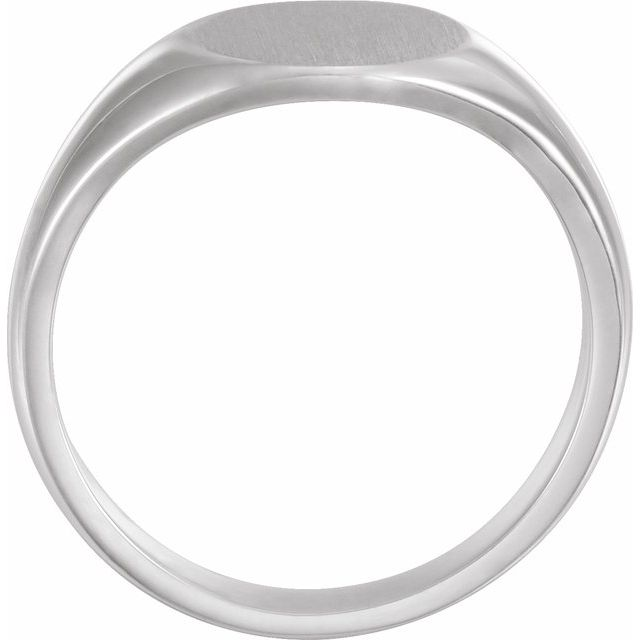 14K White 12.5x10.5 mm Oval Signet Ring