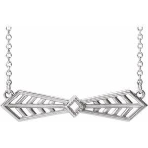 "14K White Vintage-Inspired Bar 16"" Necklace"