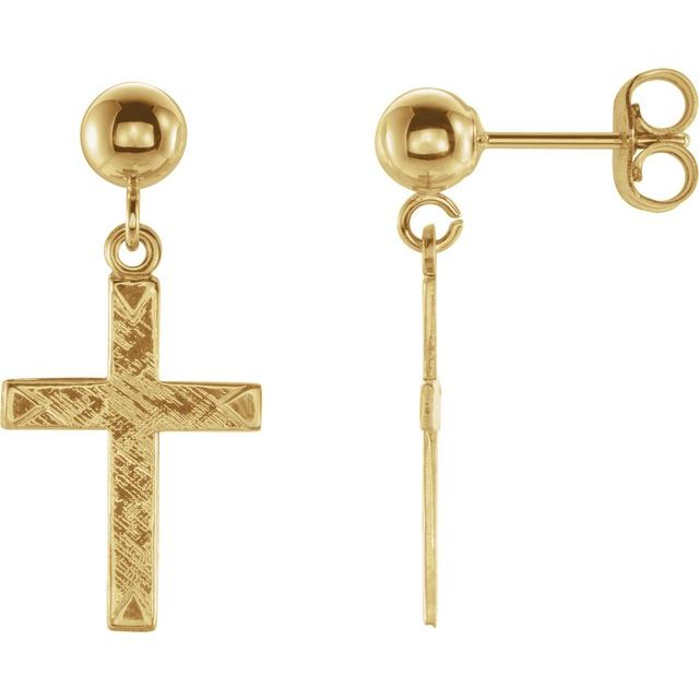 14K Yellow 11x8 mm Cross Earrings