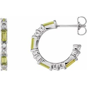 14K White Peridot & 1/2 CTW Diamond Earrings