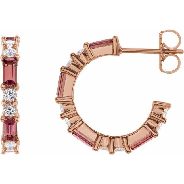 14K Rose Pink Tourmaline & 1/2 CTW Diamond Earrings