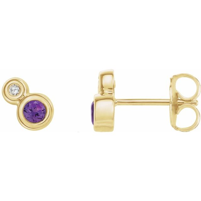 14K Yellow Amethyst & .06 CTW Diamond Earrings