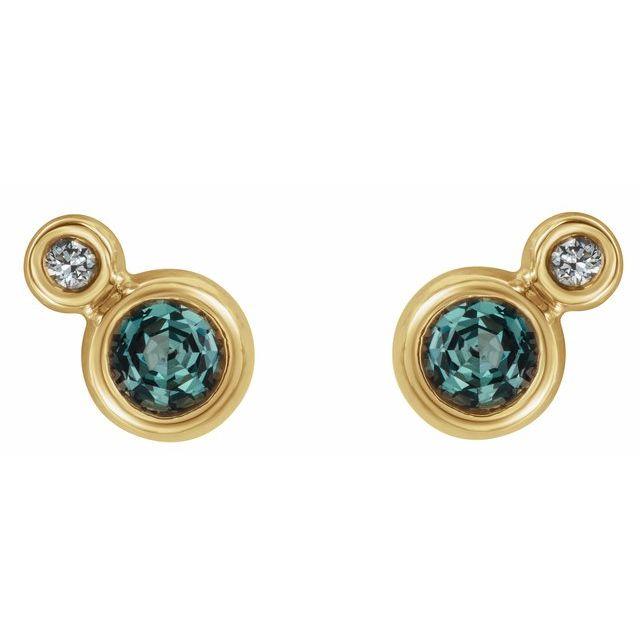 14K Yellow Alexandrite & .06 CTW Diamond Earrings