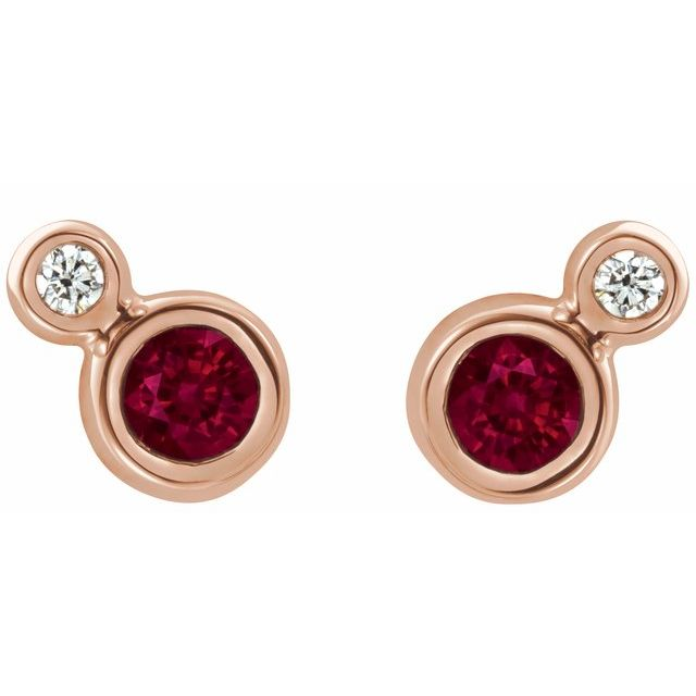 14K Rose Ruby & .03 CTW Diamond Earrings