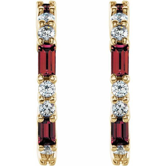 14K Yellow Mozambique Garnet & 1/2 CTW Diamond Earrings