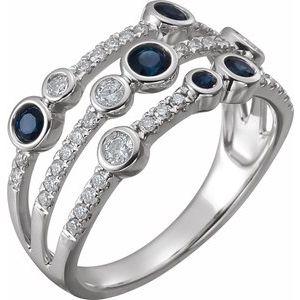 14K White Blue Sapphire & 3/8 CTW Diamond Ring