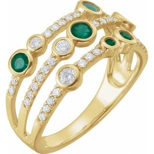 14K Yellow Emerald & 3/8 CTW Diamond Ring