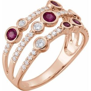 14K Rose Ruby & 3/8 CTW Diamond Ring