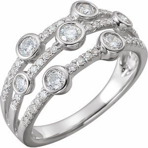 14K White 3/4 CTW Diamond Negative Space Ring