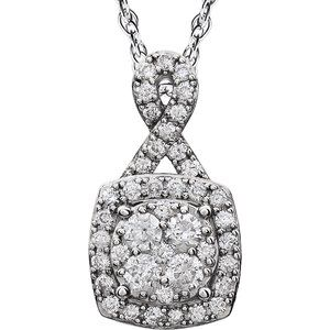 "14K White 3/4 CTW Halo-Style Diamond 18"" Necklace"