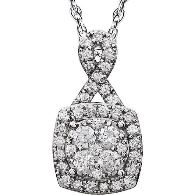 14K White 3/4 CTW Halo-Style Diamond 18
