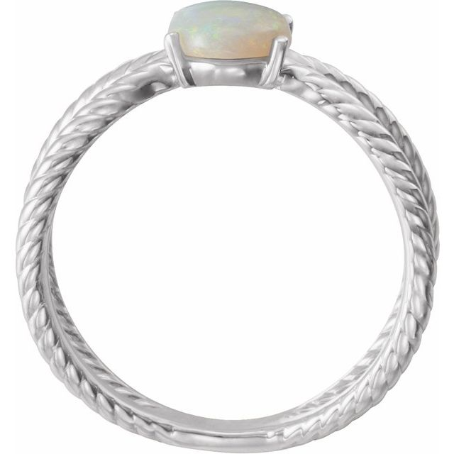 14K White 8x6 mm Opal Criss-Cross Rope Ring