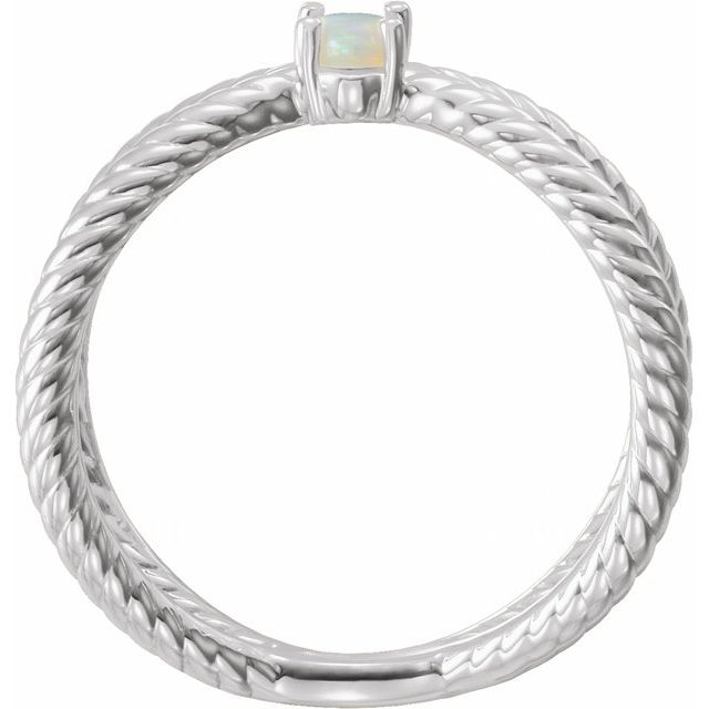 14K White Opal Cabochon Rope Ring