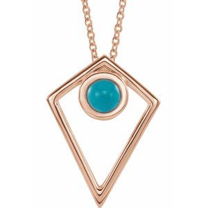 "14K Rose Turquoise Cabochon Pyramid 24"" Necklace"