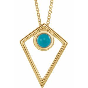 """14K Yellow Turquoise Cabochon Pyramid 16-18"""" Necklace"""