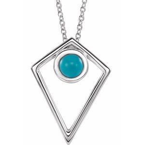 """Sterling Silver Turquoise Cabochon Pyramid 24"""" Necklace"""