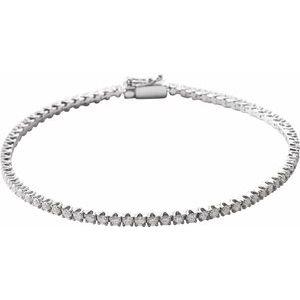 "14K White 2 CTW Diamond Line 7"" Bracelet"