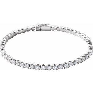 "14K White 5 CTW Diamond Line 7"" Bracelet"