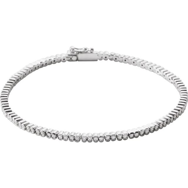 "14K White 1 CTW Diamond Line 7"" Bracelet"