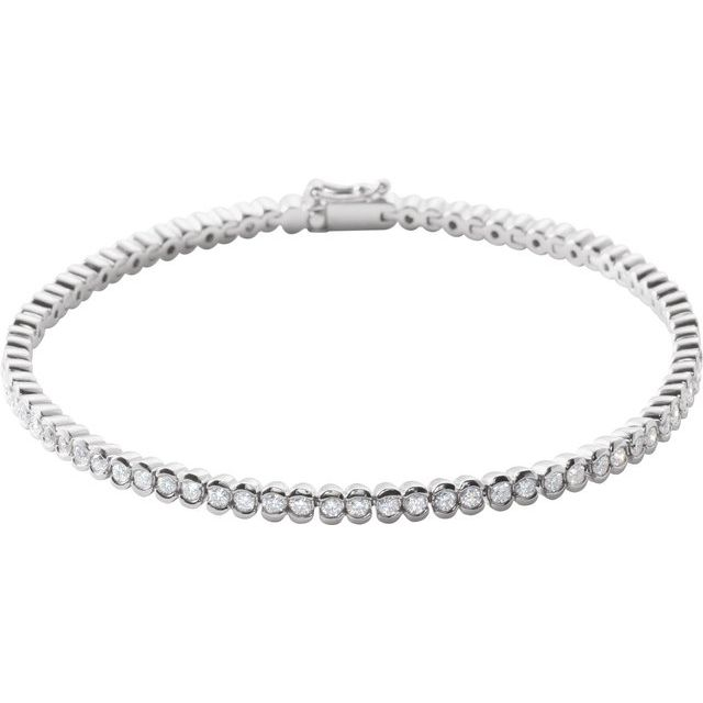 "14K White 2 CTW Diamond Line 7"" Bracelet"