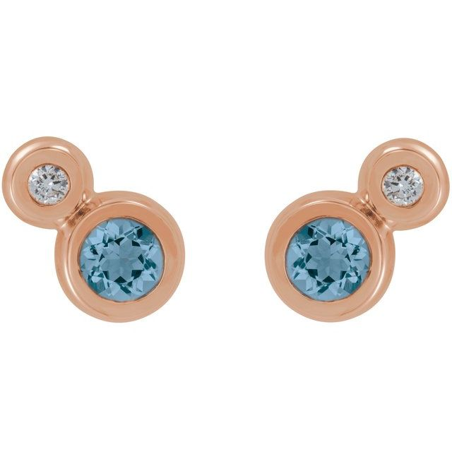 14K Rose Aquamarine & .03 CTW Diamond Earrings