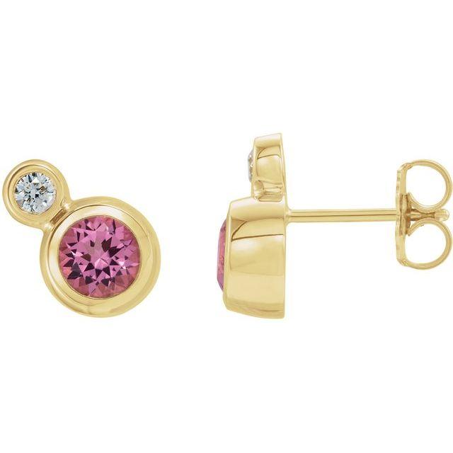14K Yellow Pink Tourmaline & .03 CTW Diamond Earrings