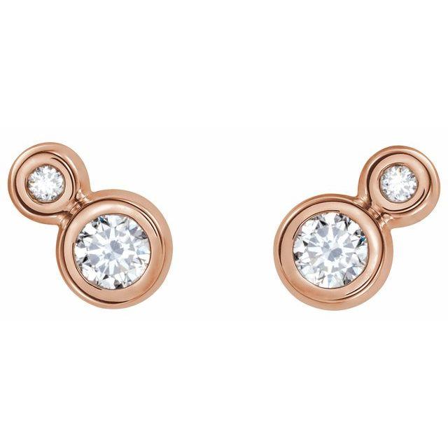 14K Rose 1/5 CTW Diamond Earrings