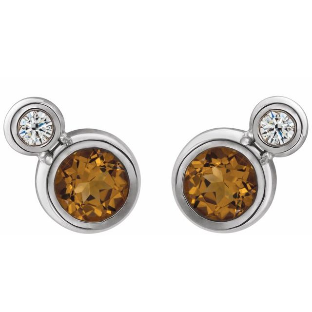 14K White Citrine & .03 CTW Diamond Earrings