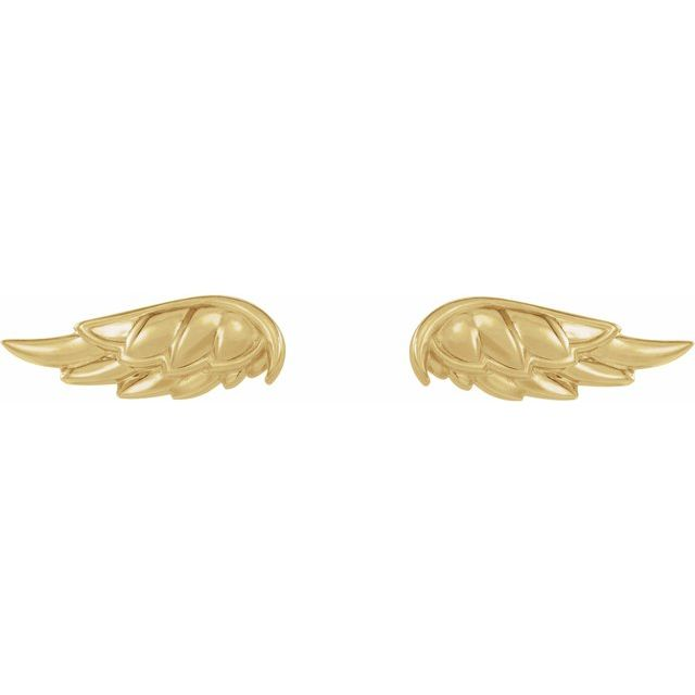 14K Yellow Angel Wing Earrings