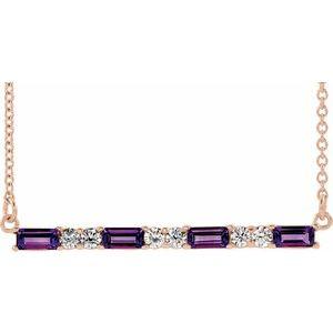 "14K Rose Amethyst & 1/5 CTW Diamond Bar 16-18"" Necklace"