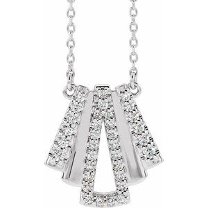 "14K White 1/5 CTW Diamond Art Deco 16"" Necklace"