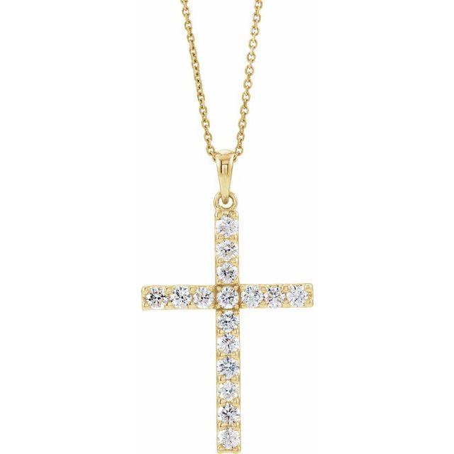 14K Yellow 3/4 CTW Diamond Cross 18