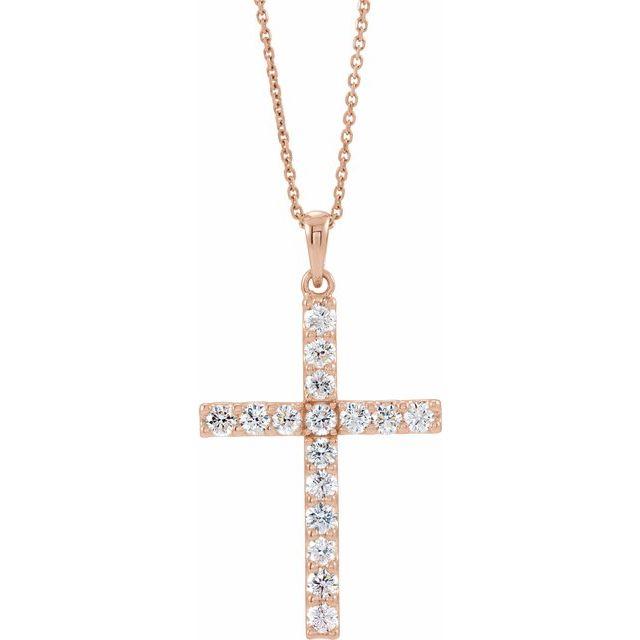 14K Rose 1/2 CTW Diamond Cross 18