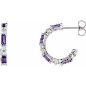 14K White Amethyst & 1/2 CTW Diamond Earrings