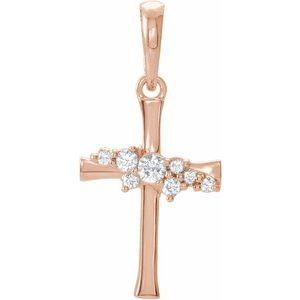 14K Rose .06 CTW Diamond Cluster Cross Pendant